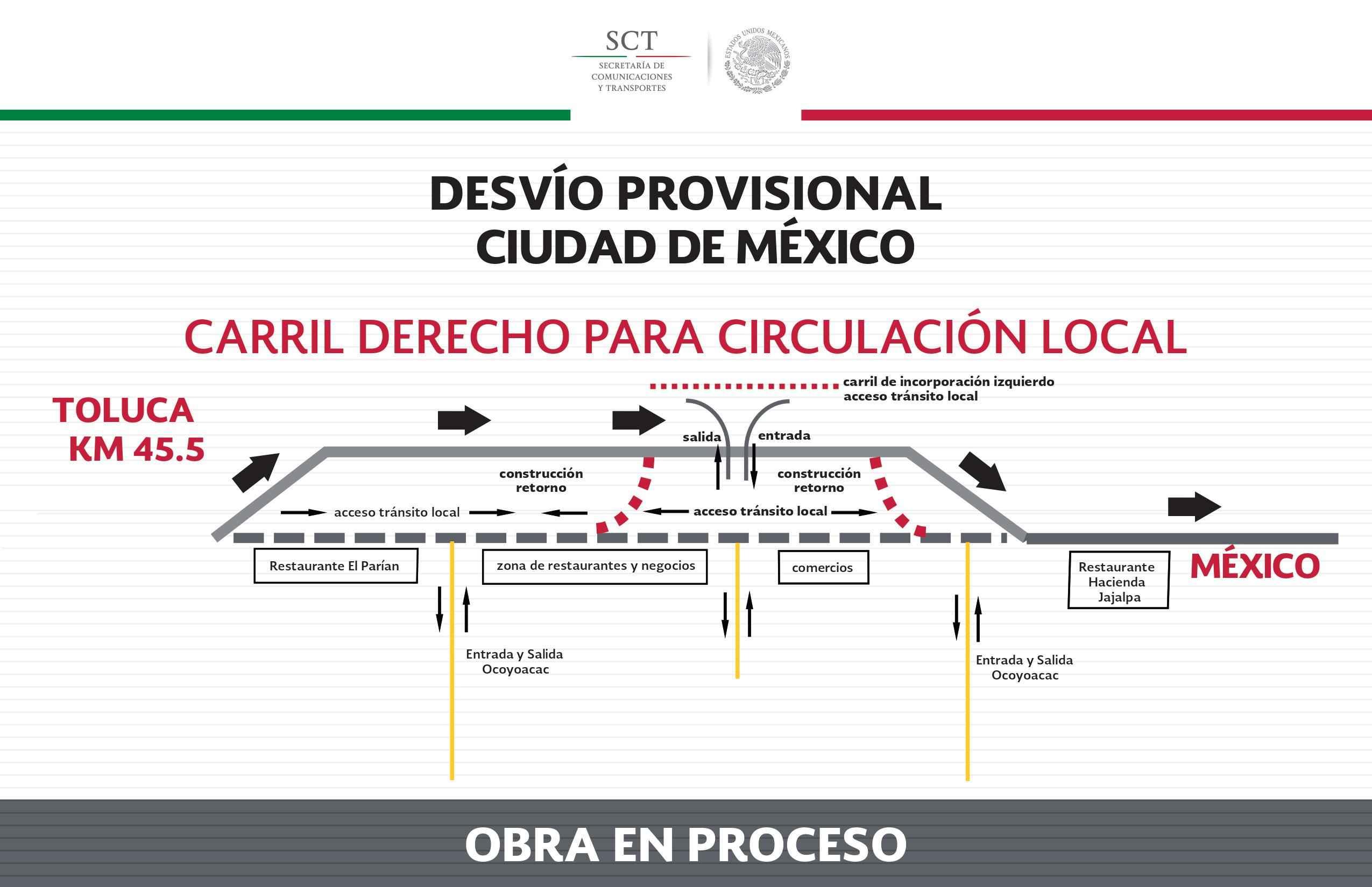 SCT habilita desviación en la carretera México-Toluca