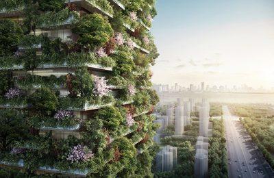 Diseñan edifico cubierto de árboles