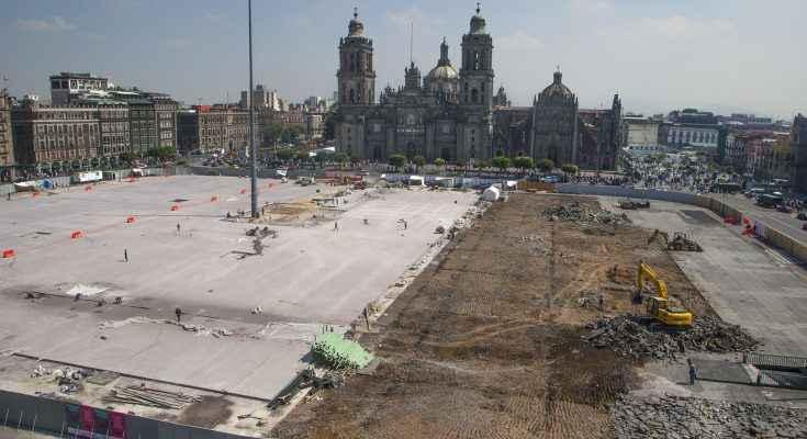 Avanzan labores de rehabilitación de la Plaza de la Constitución