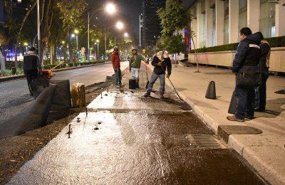 Realizan repavimentación en Paseo de la Reforma