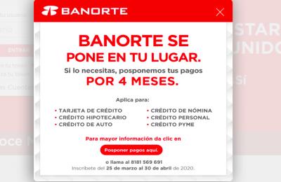 Banorte suspenderá el pago de hipotecas por Covid19-crédito