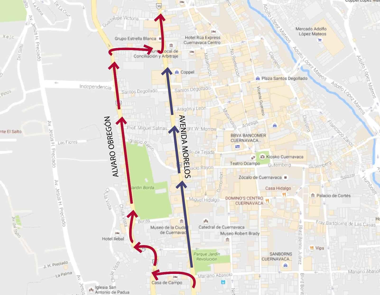 Centro Urbano - Al rescate de avenida Morelos mapa
