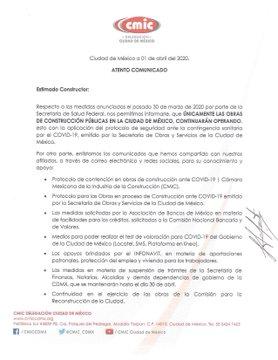 Comunicado CMIC_CDMX