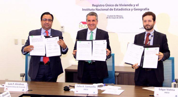 Renuevan colaboración INEGI y Registro Único de Vivienda