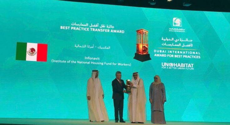 Recibe Infonavit el Premio Dubái por el CPI