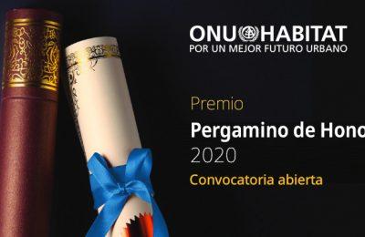 Lanza ONU-Hábitat convocatoria para premio Pergamino de Honor 2020