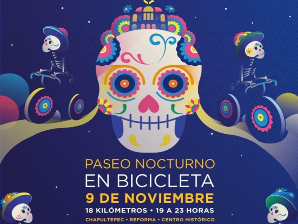 Rodada al Mictlán en el Paseo nocturno de este sábado en la CDMX