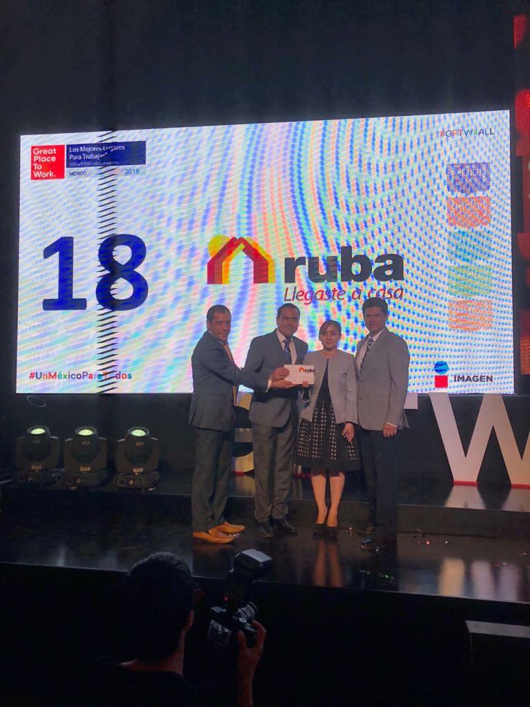 Ruba recibe certificación como mejor lugar para trabajar