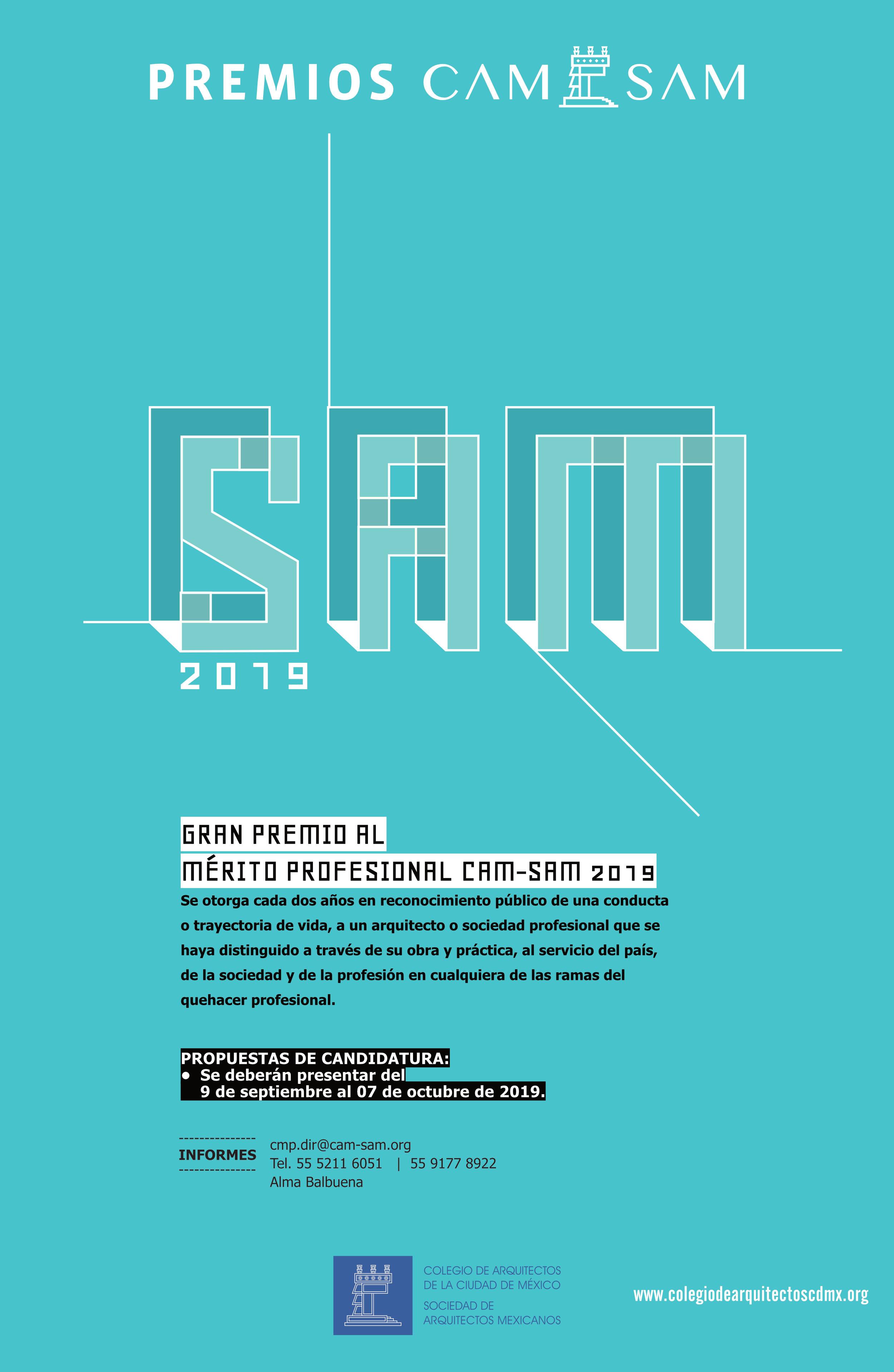 CAM SAM convoca al Gran Premio de Mérito Profesional 2019
