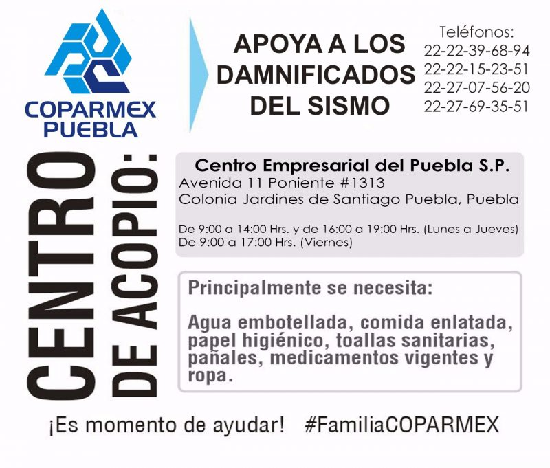Instala Coparmex Puebla centro de acopio