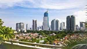 Panoramic cityscape of Indonesia capital city Jakarta